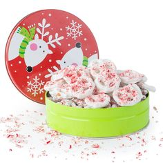 Happy Holidays, Merry Christmas Gourmet White Chocolate Candy Cane Pretzels Filled in a Reindeer Jingle Bell Round Tin, A Classic Holiday Gift For Men and Women, Teens, And Girls of All Ages, By Pistachio Gifts®: Christmas Gifts