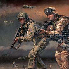 'Paratroopers Answering the Call' - Military Artist Stuart Brown Military Units, Military Gear, Military Personnel, Military History, Airborne Army, Military Drawings, War Comics, Paratrooper, World War One