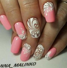 Bridal.nails, girly pink and white design