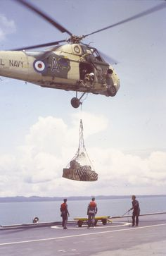 On board HMS Albion off Borneo 1965 - Westland Wessex HU5, XS479 / A-A, Royal Navy taking supplies ashore