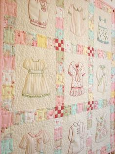 What a precious idea to combine #little girl outfits on #pink quilt blocks