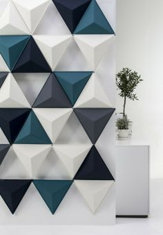 Textured Triangle Wall Panels, idea for acoustic panels Triangle Wall, Triangle Pattern, 3d Wall Panels, Plastic Wall Panels, Decorative Wall Panels, Acoustic Panels, Sound Proofing, Deco Design, Design Art