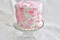 Blog~ 100 Hearts Cake this is an awesome idea for a valentines cakes! Thanks to Melissa at My Cake School!!!!
