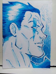 Post-it paper. Blue ink.