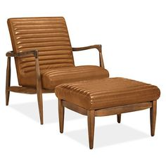 Callan Chair & Ottoman in Portofino Leather - Modern Accent & Lounge Chairs - Modern Living Room Furniture - Room & Board