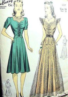 1940s EVENING GOWN DRESS PATTERN 2 STYLES DUBARRY 5227