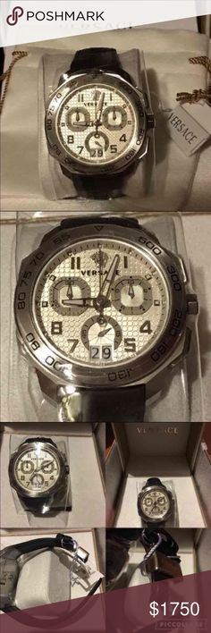 """VERSACE Men's Dylos Chrono Leather Watch NWT VERSACE Men's Dylos Chrono Leather Watch  VQC070015  NWT, in box. Authentic!  Case material: stainless steel Dial color: white/silver Bracelet: leather Closure: deployment Case size: 44mm Case thickness: 12mm Watch length: 8"""" Band width: 22m Swiss Quartz movement Water resistant: 5 ATM Medusa head key also included Box included Made in Switzerland    BRAND NEW!! ::  $1,850.00  Never worn. Versace Accessories Watches"""