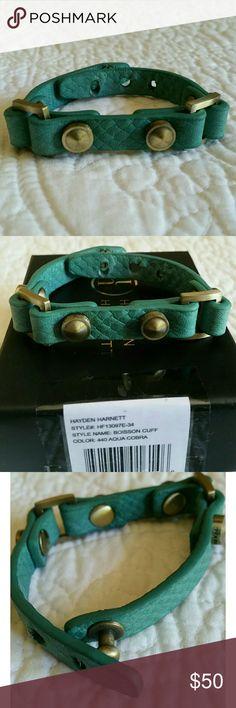 """ JUST IN"" Boisson Cuff EUC, Leather,  Rarely worn,size see pic#4  , color aqua cobra , comes with the original box. 7/26/2017 Hayden Harnett Jewelry Bracelets"