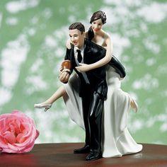 Playful Football Wedding Couple Cake Topper