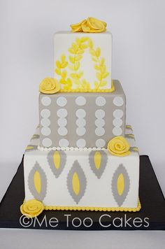 Yellow & gray wedding cake by Me Too Cakes