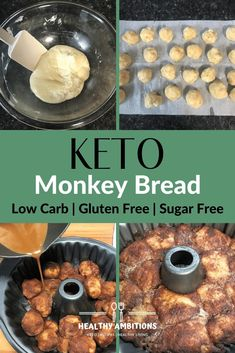 Pull Apart Keto Monkey Bread sweet dough coated in cinnamon and sweetener and drizzled with a caramel sauce keto breakfast dessert fathead lowcarb glutenfree grainfree healthyambitions ketorecipe Low Carb Sweets, Low Carb Desserts, Low Carb Recipes, Keto Friendly Desserts, Cooking Recipes, Monkey Bread, Bon Dessert, Dessert Recipes, Soup Recipes