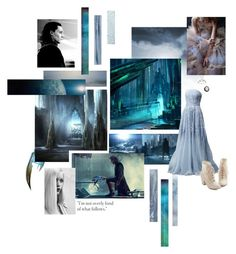 """Jotunheim"" by svenjadobbert ❤ liked on Polyvore featuring Oscar de la Renta, Naeem Khan, GE, But Another Innocent Tale, Armenta, Ice, Blue, marvel, Loki and thor"