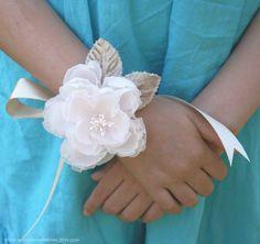 Blush pink handmade silk flower wrist corsage...