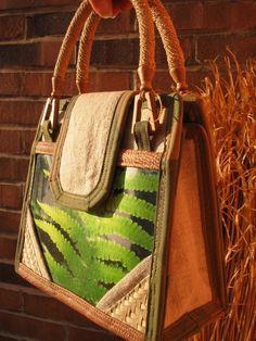 Home Decor OOAK FERN Artist PURSE Handbag Artwork green nature handmade by TALLhappyCOLORS