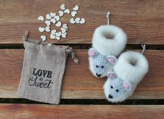 Newborn Knitted Baby Booties Mouse Baby Socks Animal Baby