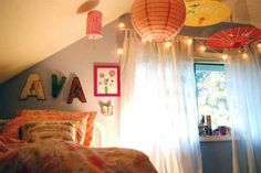 like decorating with paper lanterns handing from ceiling for color/designs