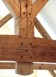 Timber frame post and beam truss. Click through to see the rest of the house