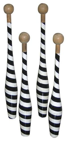 Antique circus juggling pins. We should try and get pins like these for juggling