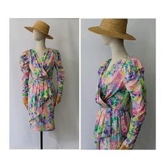 Paul Louis Orrier Paris 1980s silk Coktail Dress floral drapé small / vintage Paris Couture silk Dress