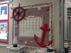 Nautical themed classroom bulletin board with calendar