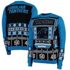 Carolina Panthers Klew Light-Up Ugly Sweater - Black