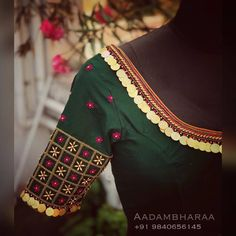 Stunning bottle green color designer blouse with floral design hand embroidery thread bead and kasu work. Hand Work Blouse Design, Kids Blouse Designs, Simple Blouse Designs, Saree Blouse Neck Designs, Stylish Blouse Design, Bridal Blouse Designs, Blouse Patterns, Maggam Work Designs, Churidar Designs