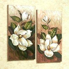 Annalynn Magnolia Floral Canvas Wall Art Set : Annalynn Magnolia Canvas Wall Art Multi Warm Set of Two Flower Painting Canvas, Flower Canvas, Flower Art, Canvas Wall Art, Wall Art Prints, Wall Art Sets, Magnolias, Crafts, Planking