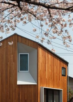 Red cedar provides a golden-hued exterior for this small gabled house in Tokyo