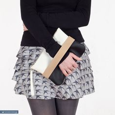 Clutch bag CarryMe black and white vegan purse by GoodMoodMoon