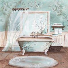 Metaverse Aqua Blossom Bath Ii by Tre Sorelle Studios Canvas Art Home Wall Art, Wall Art Decor, Wall Decorations, Shabby Chic Furniture, Shabby Chic Decor, French Country Wall Decor, Country Decor, Bathroom Artwork, Bathroom Ideas