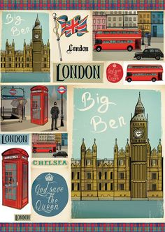 England Countryside, Big Ben London, Vintage London, Save The Queen, Decoupage Paper, London Photos, Note Paper, Good Old, London Fashion