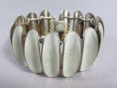 Vtg David Andersen Modernist Concave White Guilloche Enamel Sterling Bracelet in Jewelry & Watches, Vintage & Antique Jewelry, Vintage Ethnic/Regional/Tribal   eBay