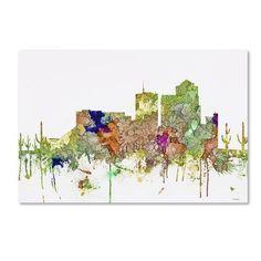 "Trademark Art 'Tucson Arizona SG Faded Glory' Graphic Art Print on Wrapped Canvas Size: 12"" H x 19"" W"