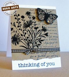 Hero Arts Cardmaking Idea: Thinking of You.  I can do this one, I have all of these stamps!