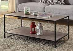Weathered Grey Oak Finish Metal Wooden Cocktail Coffee Table Shelf >>> See this great product.Note:It is affiliate link to Amazon. #c4c