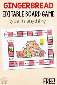 This editable gingerbread board game is perfect for math and literacy centers! Type in sight words, letters, numbers, math facts and more! Printable Activities For Kids, Preschool Printables, Kindergarten Activities, Preschool Names, Addition Activities, Kindergarten Freebies, Articulation Activities, Preschool Literacy, Children Activities