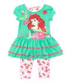 Look at this #zulilyfind! Green Ariel Dress & Leggings - Toddler by Disney Princess #zulilyfinds