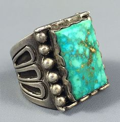 30g MASSIVE Zuni ART ACOYA Sterling BLUE CARICO LAKE Turquoise MENS Ring Sz 12.5
