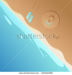 Vector illustration of a sun hat and flip flops and a shell. Top view with beach and sea in flat design.