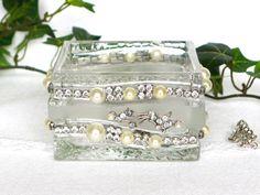 Vintage Jewelry Jar Retro Storage Glass Bowl Shabby by LonasART