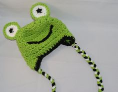 Newborn to 6 months crochet frog hat by sarZjo on Etsy, $15.00