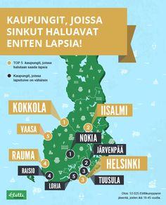 Infographics: Kaupungit, joissa sinkut haluavat eniten lapsia!