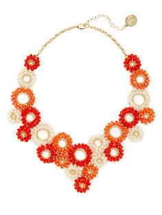 Red & Coral Circle Bib Necklace by Lavish by Tricia Milaneze at Gilt