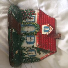 Vintage Cast Iron Little Red Cottage Door Stop, Some Chips, See Pics by PaintedLadyAntiques on Etsy