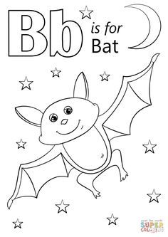 Letter B is for Bat coloring page from Letter B category. Select from 31927 printable crafts of cartoons, nature, animals, Bible and many more. Letter B Coloring Pages, Pumpkin Coloring Pages, Preschool Coloring Pages, Halloween Coloring Pages, Free Printable Coloring Pages, Free Coloring Pages, Kids Coloring, Letter B Crafts, Letter B Activities