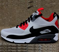 Nike Air Max 90 Mid – Dusty Grey / Black – Challenge Red – Gym Red