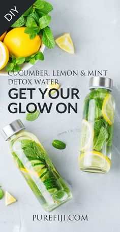 """Cucumbers, lemon, and mint are a classic spa water combo. Lemons are a natural detoxifier. They help to cleanse the body by flushing out toxins, whilst also boosting your immune system and aiding"" Mint Detox Water, Cucumber Detox Water, Detox Water For Clear Skin, Mint Water, Weight Loss Meals, Digestive Detox, Body Detoxification, Lemon Diet, Spa Water"