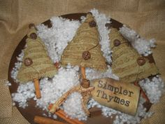 Primitive Christmas Tree Ornies Set of 3 by crustyoldcrows Primitive Christmas Ornaments, Prim Christmas, Christmas Sewing, Vintage Christmas, Christmas Holidays, Christmas Gifts, Christmas Decorations, Christmas Blessings, Handmade Ornaments