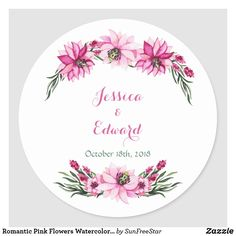 Shop Romantic Pink Flowers Watercolor Wedding Classic Round Sticker created by SunFreeStar. Watercolor Wedding, Watercolor Flowers, Floral Bouquets, Floral Flowers, Baby Clip Art, Wedding Stickers, Meraki, Round Stickers, Different Shapes