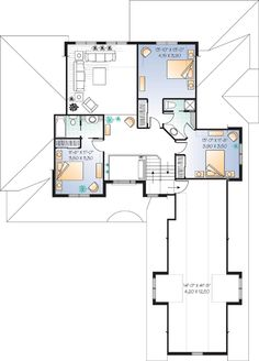 Second Floor Plan of Traditional   House Plan 65104